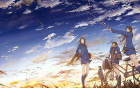 anime girls, anime, sunset, bicycle, schoolgirls, school uniform