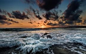 небо, пейзаж, облака, море, закат