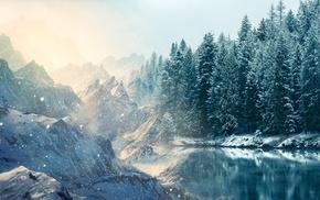 снег, природа, озеро, деревья