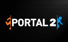 Valve, Portal 2, минимализм, просто, черный фон