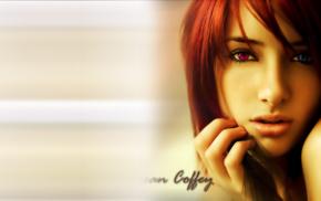 рыжие, CGI, красные галаза, голубые глаза, модель