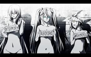 anime, Kagamine Rin, colors, eyes, Megurine Luka