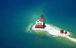 sea, island, lighthouse, waves