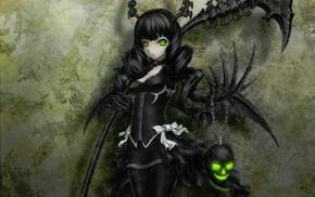 черная магия, череп, Black rock shooter, ухмылка, аниме, зелёные глаза