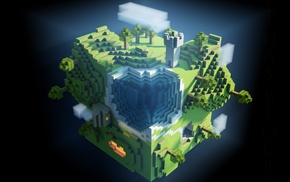 pixels, cube, world, Minecraft, video games, anime