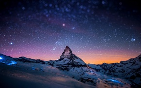 winter, space, snow, night, mountain, lights