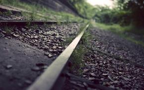 скала, железная дорога, глубина резкости