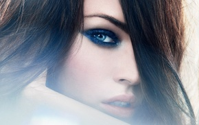 blue eyes, brunette, face, portrait, Megan Fox