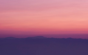 sunset, evening, mountain, peaceful