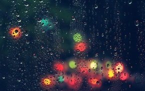 lights, water drops, bokeh, rain, blurred, water on glass