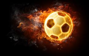 black background, soccer, fire, 3D