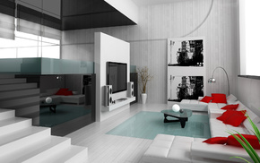 apartment, painting, design, reflection, pillows