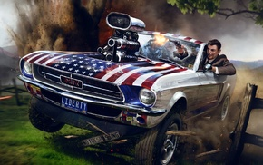 explosion, Ronald Reagan, USA, hill, gun, Ford Mustang