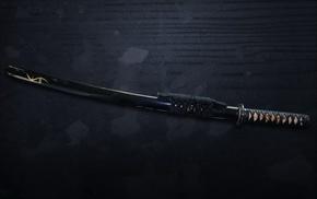 sword, samurai, katana, gun