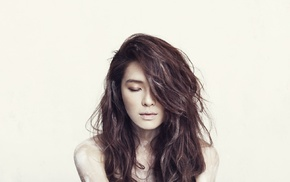 волнистые волосы, Азия, корейское, закрытые глаза, брюнетка