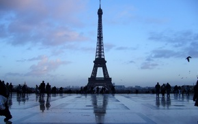 Paris, gloomy, Eiffel Tower, France, architecture
