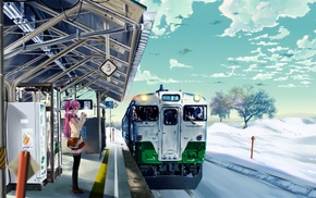 winter, anime, train station, girl, train
