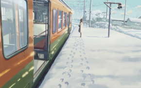 winter, anime, 5 Centimeters Per Second, footprints, girl, Makoto Shinkai