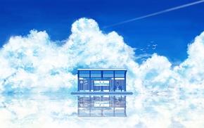 train station, clouds, anime