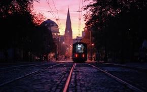 Poland, church, street, cityscape, tram, Poznan