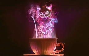 cup, smoke, Alice in Wonderland, Cheshire Cat