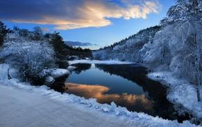 горы, природа, лед, снег, озеро