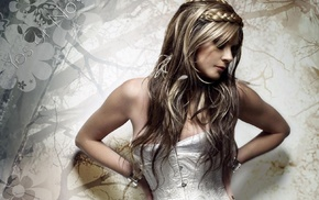 blonde, Sarah Brightman, hands on hips, bare shoulders, braids