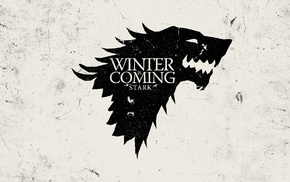 Winter Is Coming, TV, Game of Thrones, sigils, House Stark, monochrome