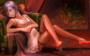 anime girls, original characters, high heels, stockings