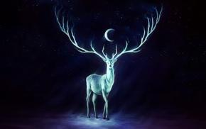 crescent moon, deer, antlers, artwork