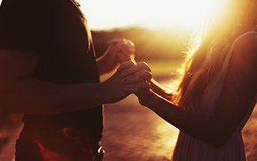 couple, holding hands, long hair