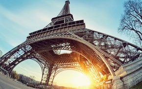закат, Франция, Париж, Эйфелева башня
