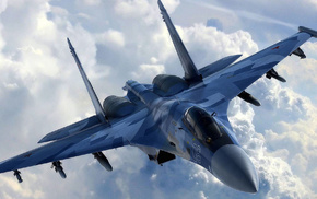 aircraft, jet fighter, clouds, airplane, fly