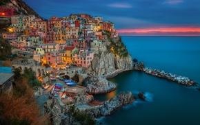 city, Italy, Manarola, landscape, Cinque Terre