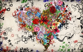 abstract, hearts, flowers, rose