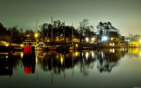 nature, cities, lights, boats, embankment