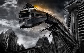 монохром, поезд, цифровое искусство, апокалипсис