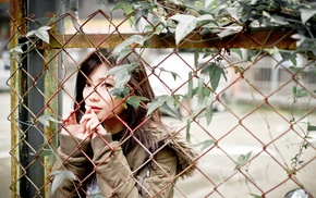 depth of field, fence, girl, girl outdoors, Asian, leaves