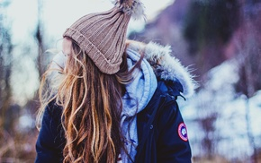 girl outdoors, woolly hat, girl, long hair, jacket, brunette
