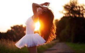 sunlight, arms up, ballerina, girl outdoors, hands on head, brunette