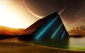 sea, mountain, planet, beach, fantasy art, artwork