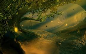солнечный свет, деревья, фантастическое исскуство