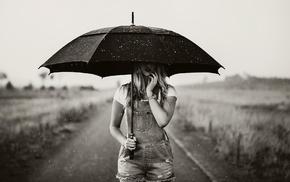 дождь, зонтик, монохром