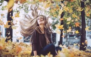 leaves, girl outdoors, girl, windy, long hair, fall