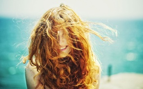 sunlight, smiling, girl, redhead, hair in face, curly hair