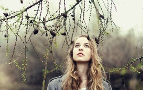 nature, blonde, looking up, pine cones, girl, green eyes
