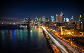 night, New York City, Brooklyn Bridge, Manhattan, West Side Highway