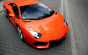 Lamborghini, orange, car, Lamborghini Aventador