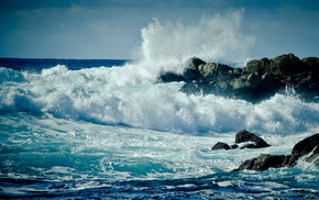 USA, storm, rock, foam, coast