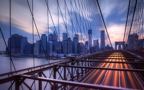 bridge, city, Brooklyn Bridge, building, cityscape, New York City